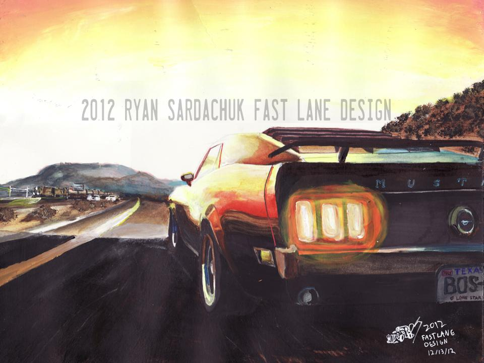 Interstate 10 Boss Mustang (painting) by FastLaneIllustration