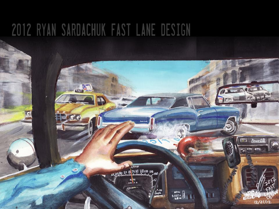 1970 Chevy Monte Carlo on The Run (Painting) by FastLaneIllustration