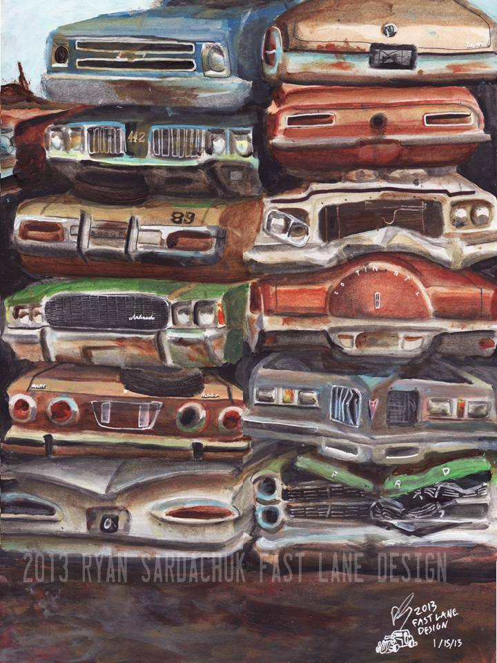 Stack O\' Iron (Junkyard Themed Painting) by FastLaneIllustration on ...