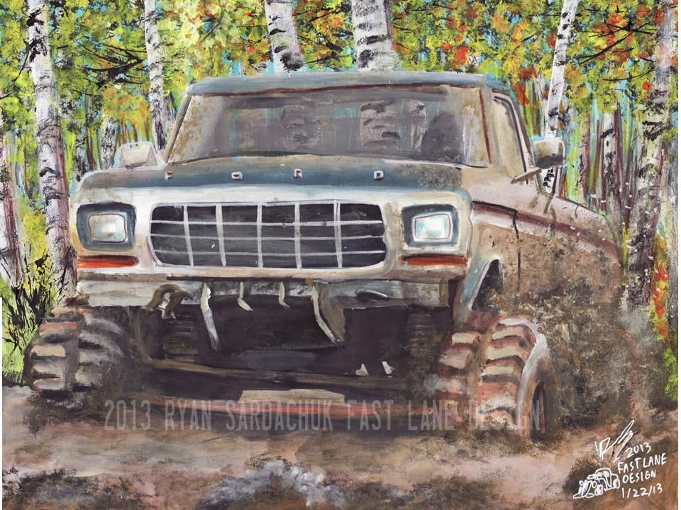 1978 Ford F150 Mudding In The Woods Painting By FastLaneIllustration