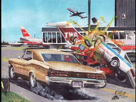The Vindication (80s Car Chase Themed Painting) by FastLaneIllustration