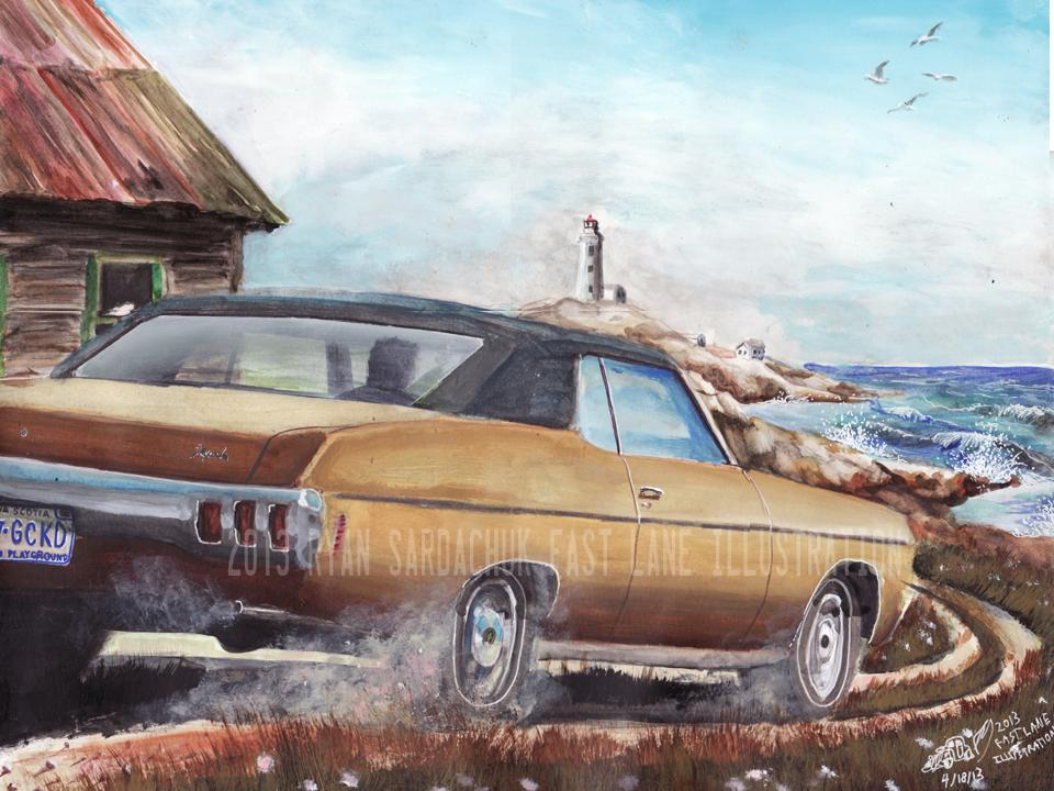 1970 Chevy Impala In Nova Scotia (Painting) by ...