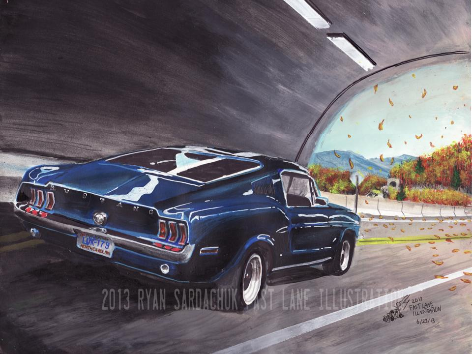 Blue Ridge Blitz Ford Mustang Painting By - Cool car art