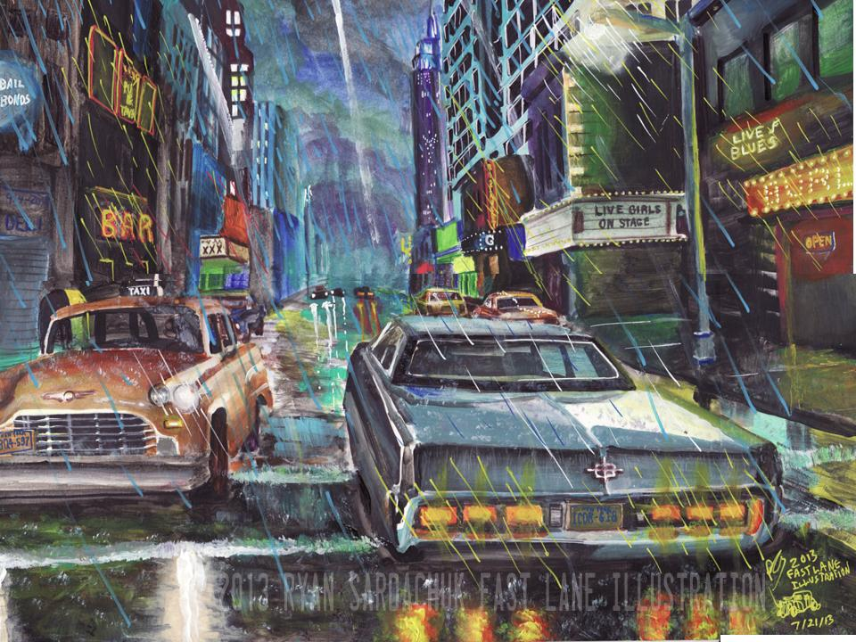 Night In The Rotten Apple (Early 80s NYC Painting) by FastLaneIllustration