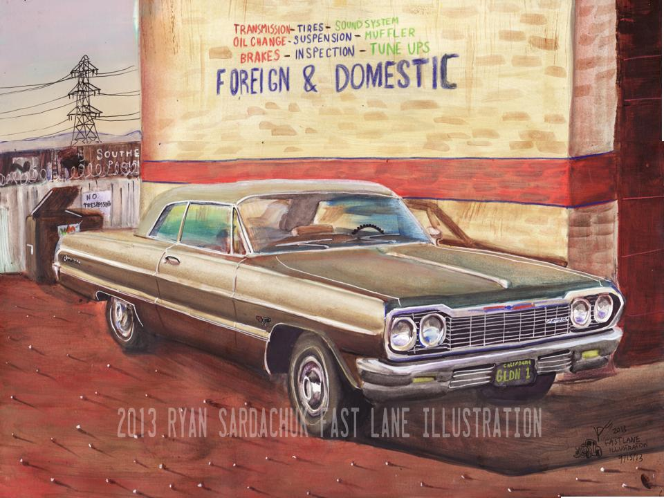 1964 Chevy Impala At The Shop (Painting) by FastLaneIllustration