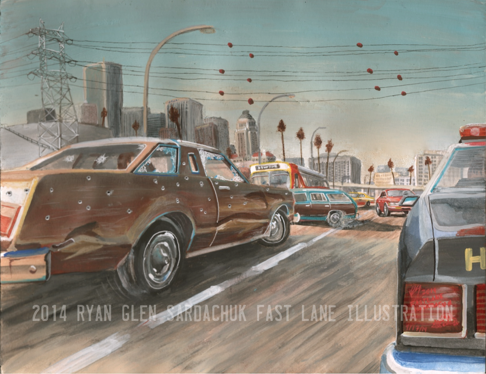 Against The Grain (Car Chase Painting) by FastLaneIllustration