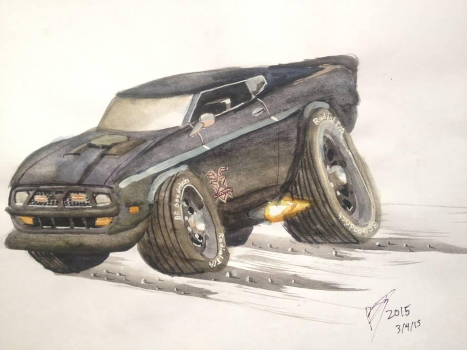 Cartoon 1971 Mustang Interceptor Movie Car by FastLaneIllustration