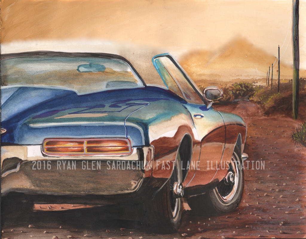 Desert Horizons (1971 Buick Riviera Painting) by FastLaneIllustration