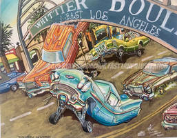 Wire Wheels On Whittier (Lowrider Painting)