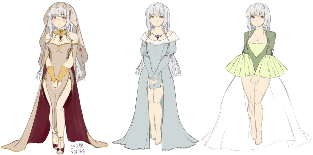 Serenity Ball Gown Sketches WIPS by heophtia on DeviantArt