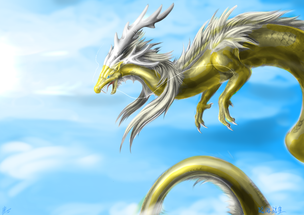 the golden dragon in sky by Lena-Lucia-dragon