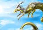 the golden dragon in sky