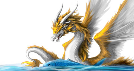 Dragon with fish by Lena-Lucia-dragon