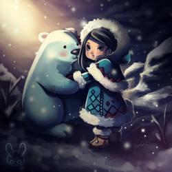 Little Eskimo and her polar bear