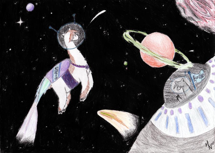 Llamas in Space by kittywhiskas