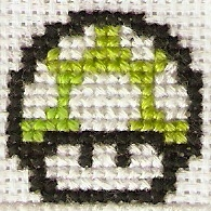 1 Up Mushroom Cross Stitch by magentafreak