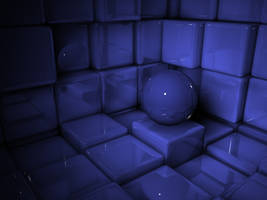 Sphere in a room of cubes by devilmo666