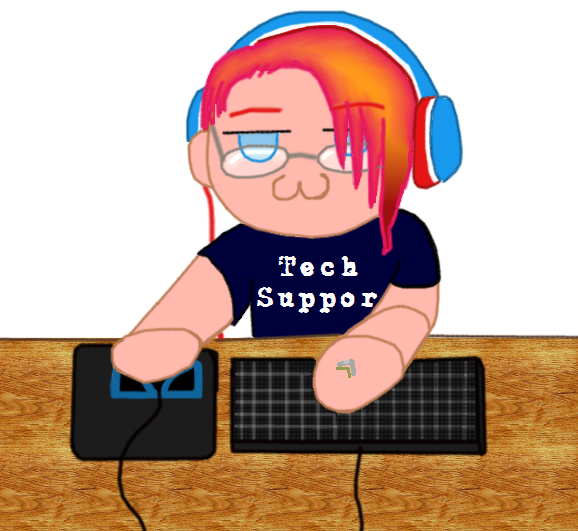 Tech support chibi by yokogreyword