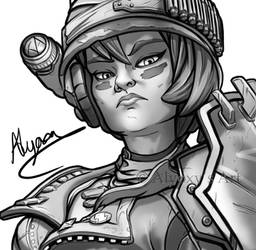 Moze Study (Borderlands 3 fan art)
