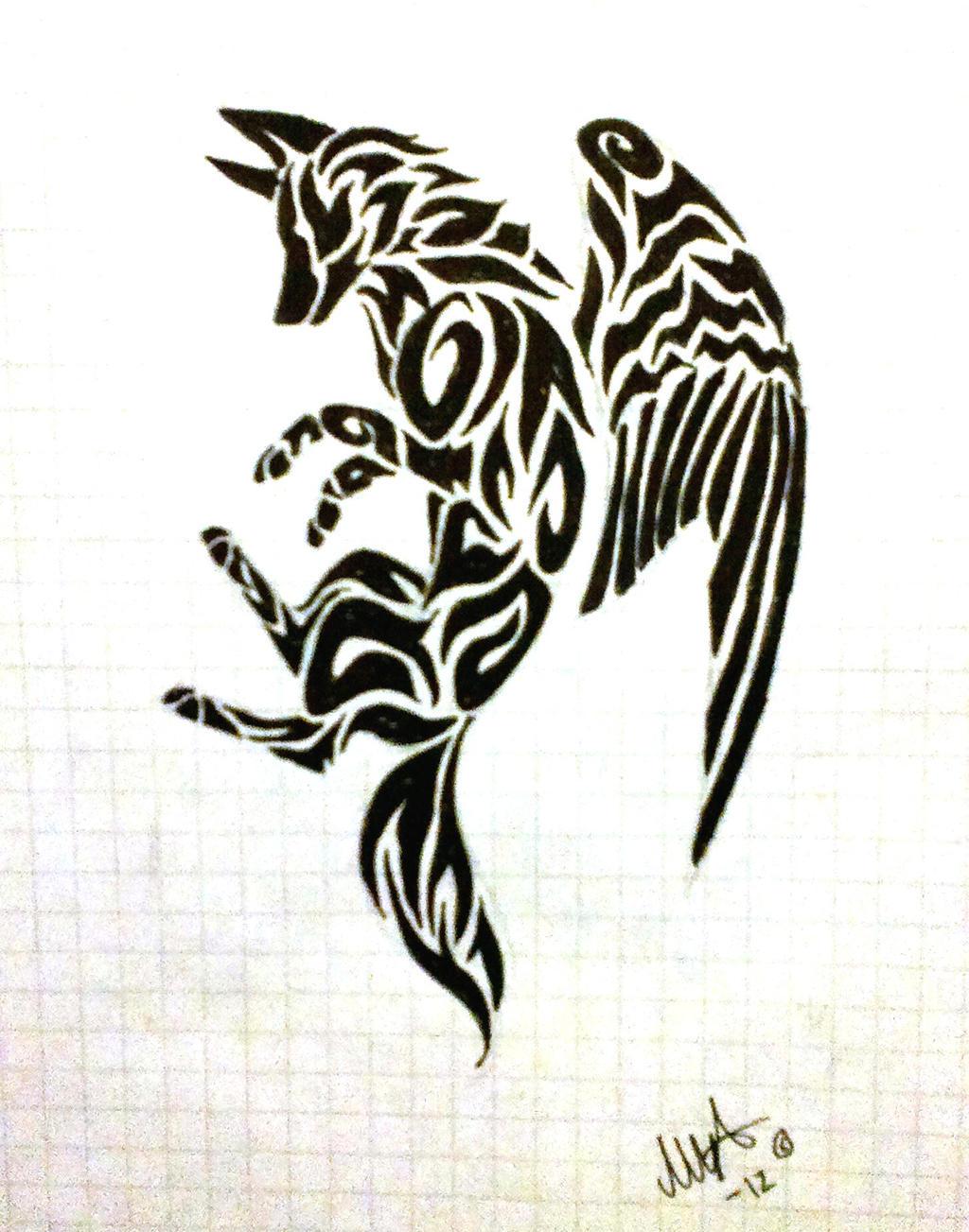 Angel wolf tattoo by MineaAmanda on DeviantArt