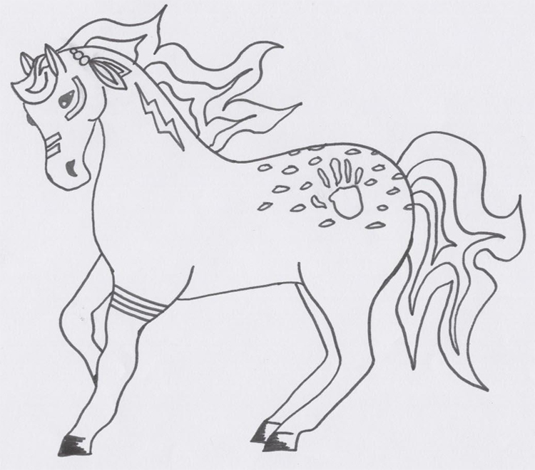 Native American Horse Drawings An indian horse drawing by