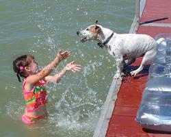 Little Girl and Big Splash