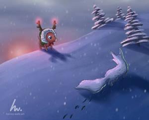 My OC piglet in a reindeer coat