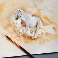 Watercolor horse by NillaMustikka