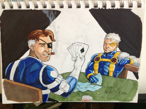 Cable And Nick Fury Playing Cards
