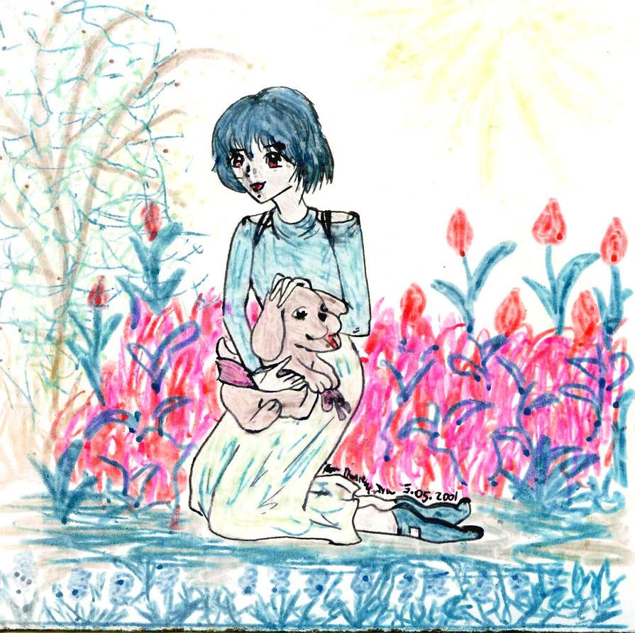rei with flowers 2001 xD by NanakoHarrison