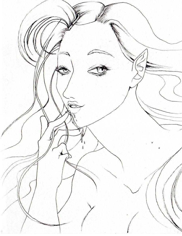 kirika the vampire lineart by NanakoHarrison