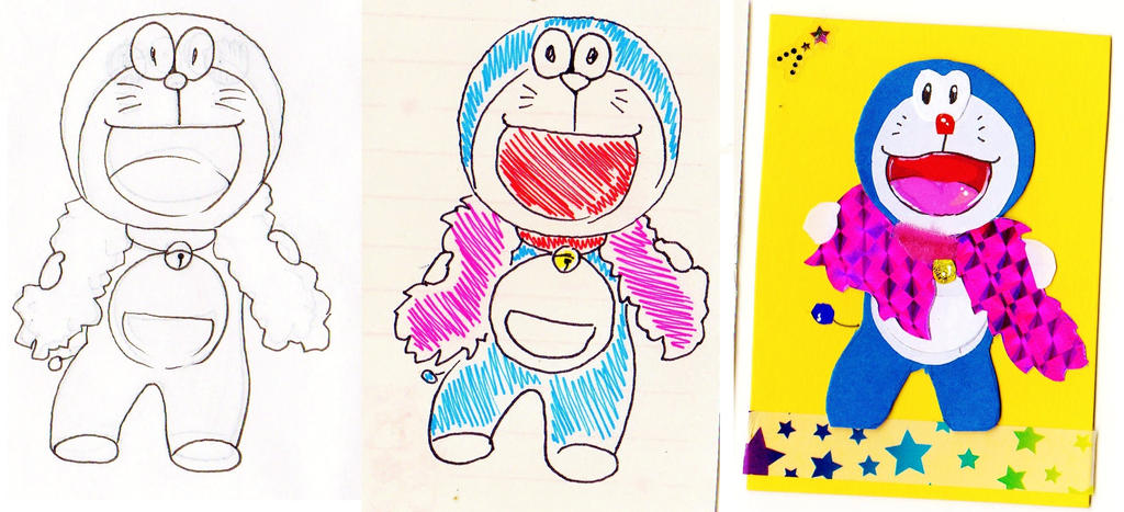 Doraemon: stages to an ACEO collage by NanakoHarrison