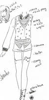 OC fashion sketch Shinobu by NanakoHarrison