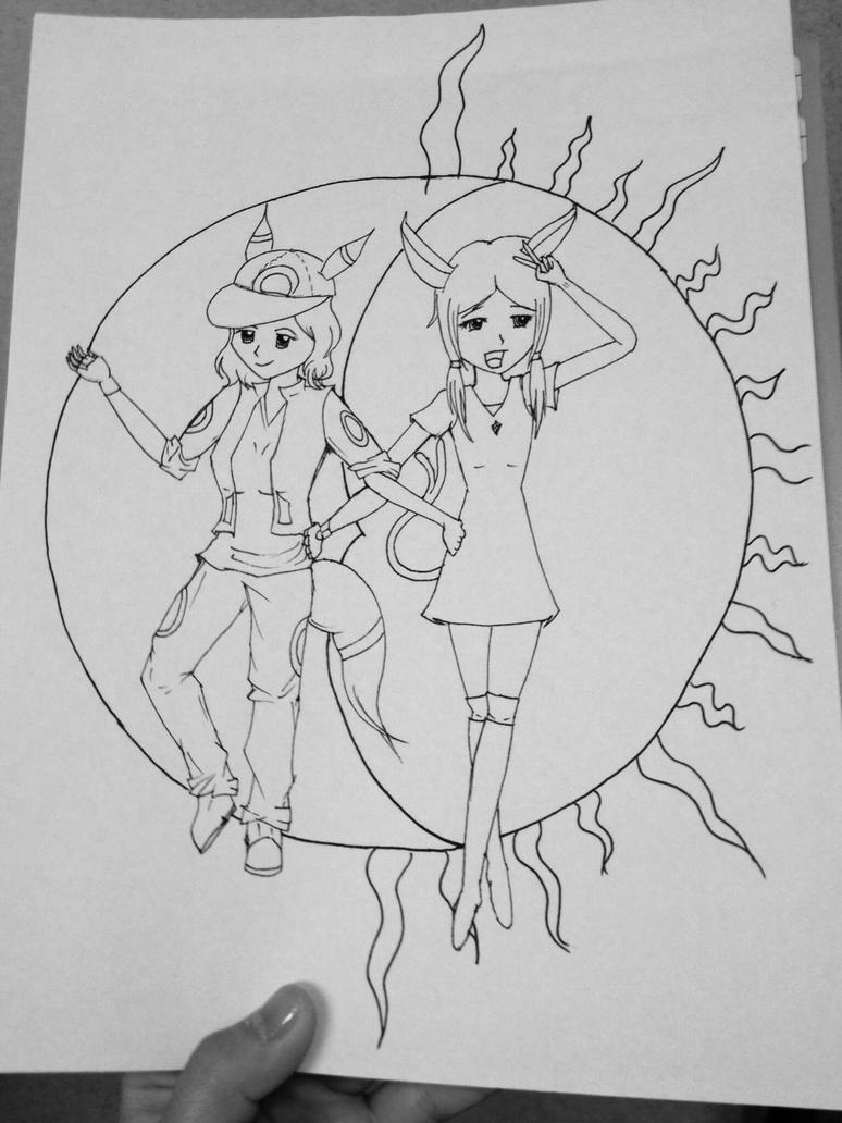 Umbreon and Espeon Art Trade: WIP 2 by Artemis015