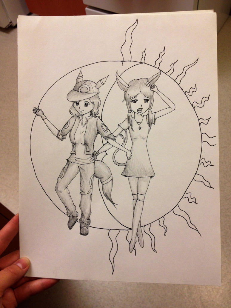 Umbreon and Espeon Art trade: WIP 3 by Artemis015