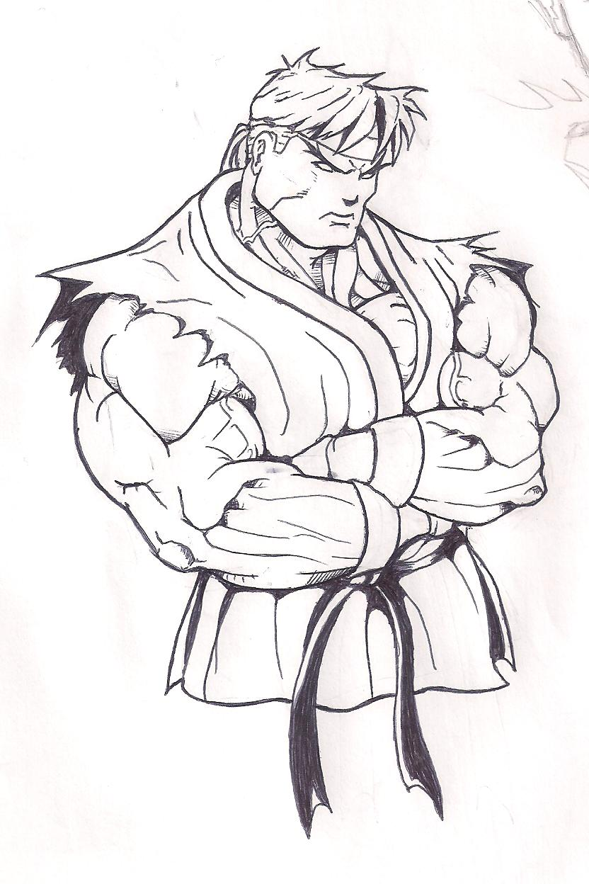 Ryu 02 by frankesley on deviantart for Ryu coloring pages