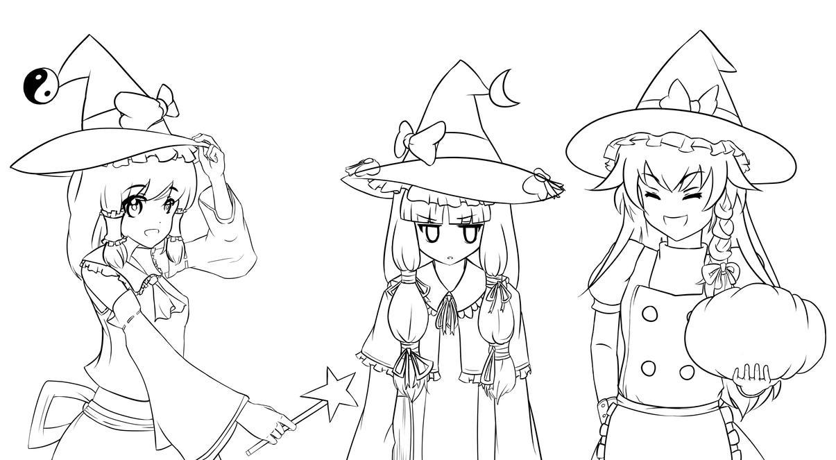 Line Art Halloween : Touhou halloween lineart by nek rashi on deviantart