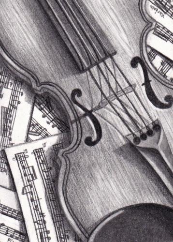 #94 Violin (ATC) by Womiko