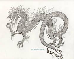 Asian Dragon inking by kamiki