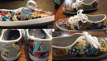 Captain America Comic-Art tennis shoe Project
