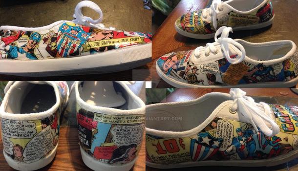 Captain America Comic-Art tennis shoe Project