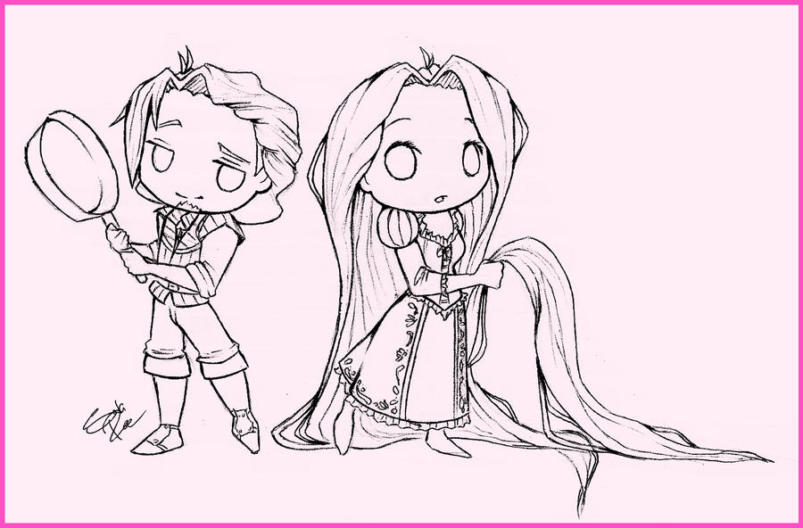 Young Rapunzel Coloring Pages Chibi Flynn and Rapunzel