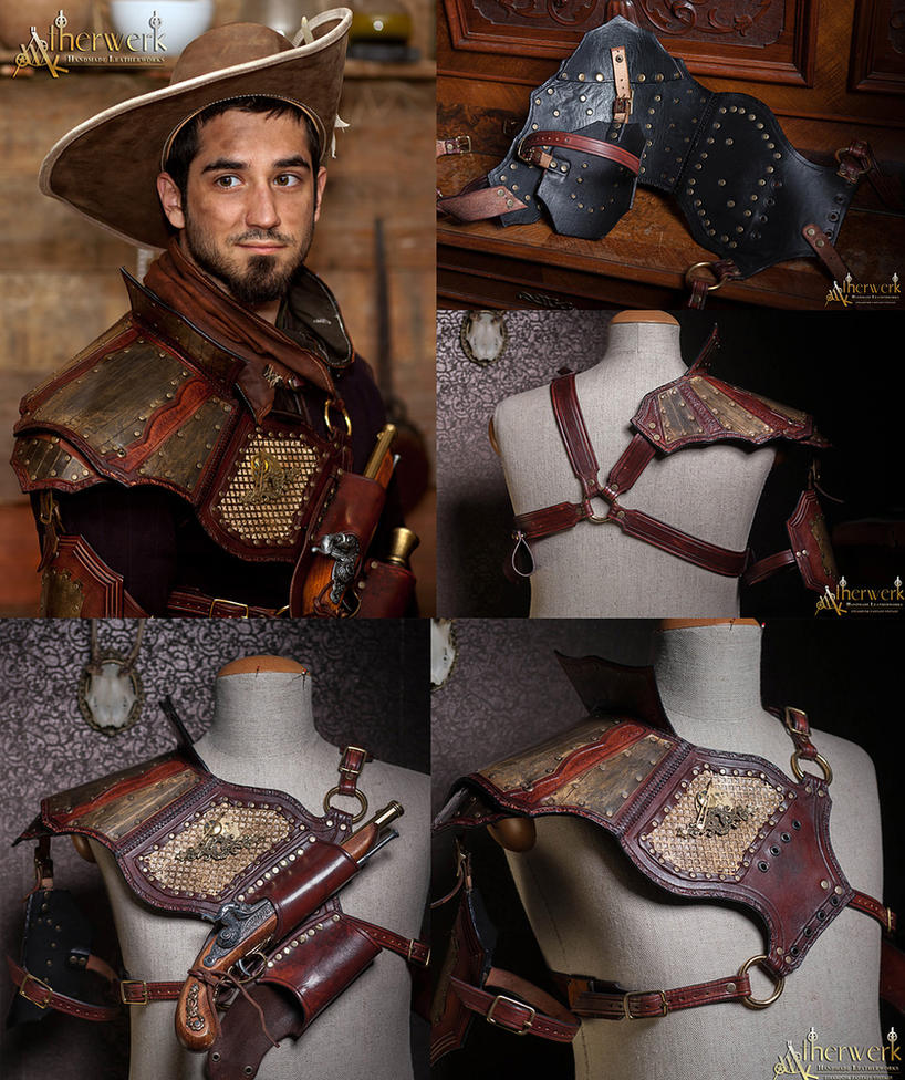 Steampunk Shoulder Armor with pistol holsters by Aetherwerk