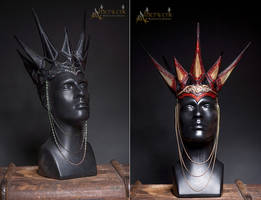 Handmade Leather crowns with tooled leatherworks