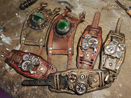 Handmade Steampunk Leather wristcuffs by Aetherwerk