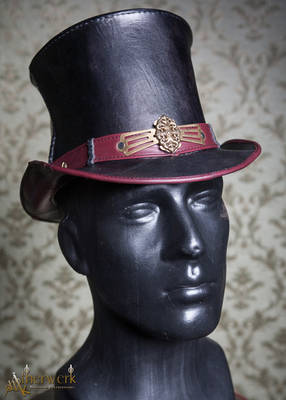 Leather Top Hat black