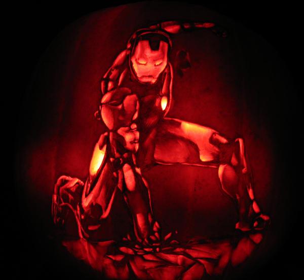 Ironman pumpkin by qw on deviantart