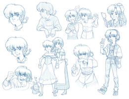 Ranma sketches 1/2 by GuilhermeRM