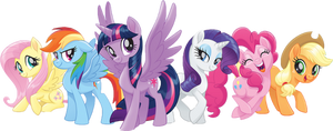 Mane 6 PNG Page Decor by Raccoonus-Doodus