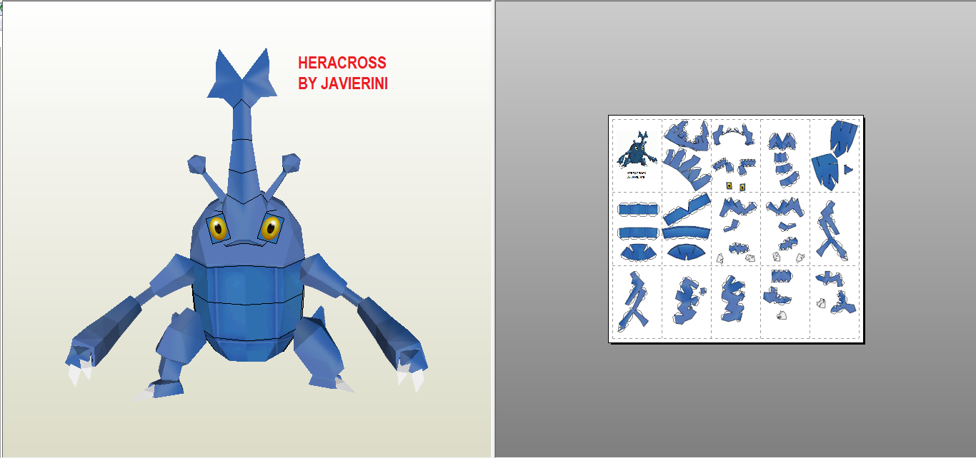 HERACROSS PAPERCRAFT by javierini